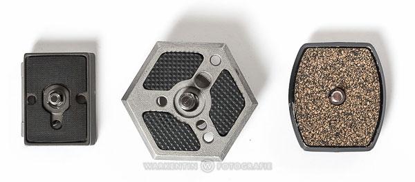 Schnellwechselplatten gibt es von verschiedenen Herstellern in unterschiedlichen Formen und Größen, die leider nicht miteinander kompatibel sind. (Foto: Karl H. Warkentin)